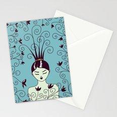 Strange Hair And Flowery Swirls Stationery Cards