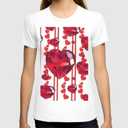 RED VALENTINES & RUBY HEARTS  DESIGN T-shirt