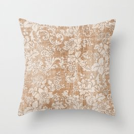 Vintage white brown grunge shabby floral Throw Pillow