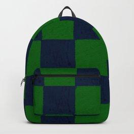 Vibrant green and dark blue checks soft pastel Backpack