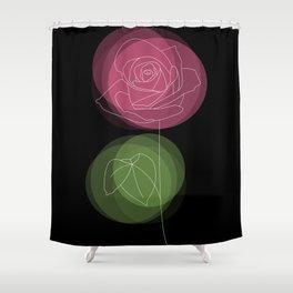 Pastel Spring Rose Flower on a Black Backdrop Shower Curtain