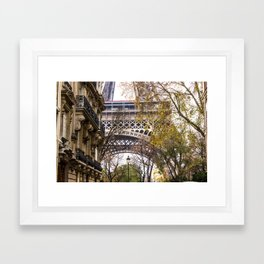 Eiffel Tower in Between Buildings Framed Art Print