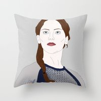 katniss Throw Pillows featuring Katniss Everdeen by raeuberstochter