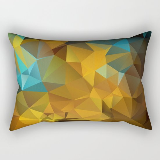 Polygon geometric abstract pattern in blue and yellow tones . Rectangular Pillow