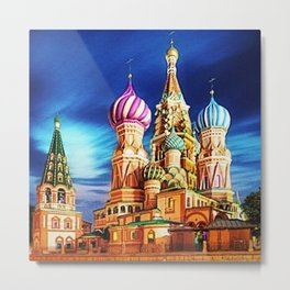 St. Basil's Cathedral, Moscow landscape painting by Jeanpaul Ferro Metal Print