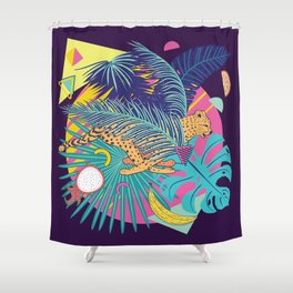 Running cheetah with tropical fruits and leaves design Shower Curtain