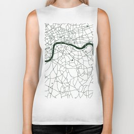 London White on Green Street Map Biker Tank