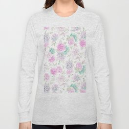 Pastel pink turquoise watercolor hand painted cactus floral Long Sleeve T-shirt