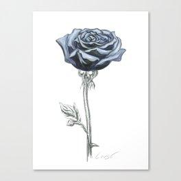 Rose 03 Botanical Flower * Blue Black Rose : Love, Honor, Faith, Beauty, Passion, Devotion & Wisdom Canvas Print