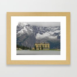 A House in Front of the Snowy Mountains Framed Art Print