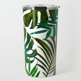 Tropical Dream, Jungle Nature Botanical Monstera Palm Leaves Illustration, Scandinavian Painting Travel Mug