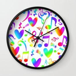 Colorful Musical Rainbow Notes Hearts Stars Wall Clock