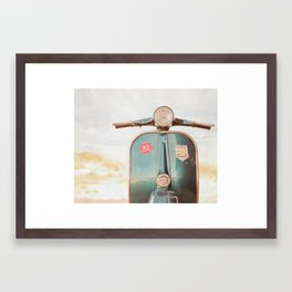 The Blue Vespa Framed Art Print