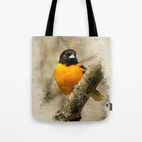baltimore Tote Bags featuring Baltimore Oriole Watercolor Painting by Christina Rollo