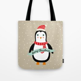 "Cute Penguin wishes ""Merry Christmas"" - X-mas Christmas Winter Design Tote Bag"