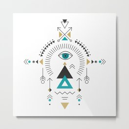 Colorful Tribal Geometric Totem Metal Print