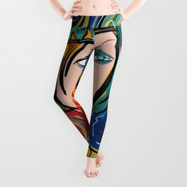 Pop Girl Art Deco with Hat and hearts Leggings