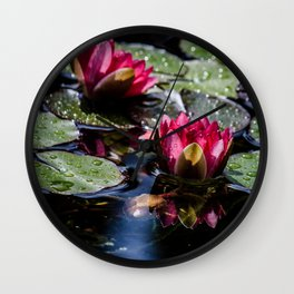 Two water lilies in the sunbeam Wall Clock