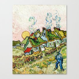 Houses and Figure by Vincent Van Gogh Canvas Print