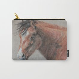 PONY Brown Horse portrait Pastel drawing Cute Foal Colt Baby Horse Carry-All Pouch