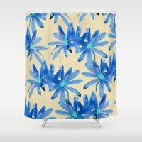 mercedes Shower Curtains featuring MATUCANA IN AQUAMARINE by Mercedes Olondriz