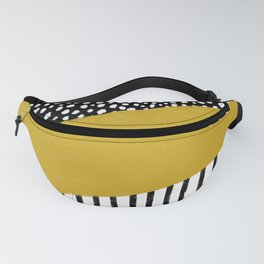 Polka Dots and Stripes Pattern (black/white/mustard yellow) Fanny Pack