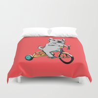 frenchie Duvet Covers featuring Frenchie Ride by Huebucket