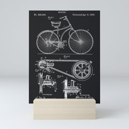 Vintage Bicycle patent illustration 1890 Mini Art Print