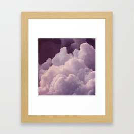 Abstract hand painted blush pink lilac watercolor clouds pattern Framed Art Print