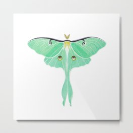 Luna Moth (Actias luna) watercolor painting Metal Print