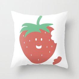 I'm happy strawberry Throw Pillow
