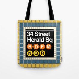 subway herald square sign Tote Bag