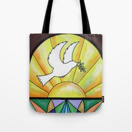 Stained Glass Dove Tote Bag