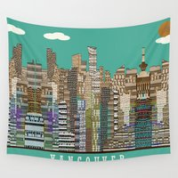 vancouver Wall Tapestries featuring Vancouver skyline by bri.buckley