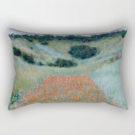 "Claude Monet ""Poppy Field in a Hollow near Giverny"" Rectangular Pillow"