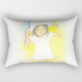 summer hat beach dress girl Rectangular Pillow