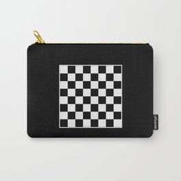 Vintage Chessboard & Checkers - Black & White Carry-All Pouch