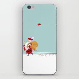 Santa and Small Red Bird iPhone Skin