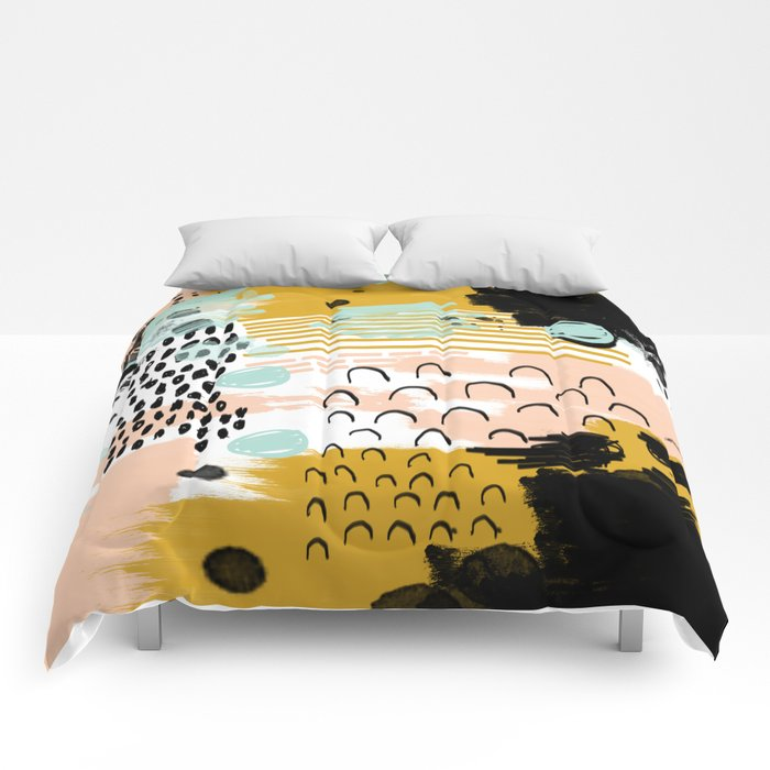 Ames - Abstract painting in free style with modern colors navy gold blush white mint Comforters