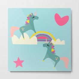 unicorn and rainbow blue Metal Print