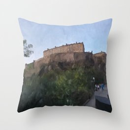 Edinburgh Castle from Johnston Terrace Throw Pillow