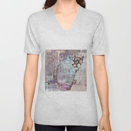 The Owl and the Calico Cat Unisex V-Neck