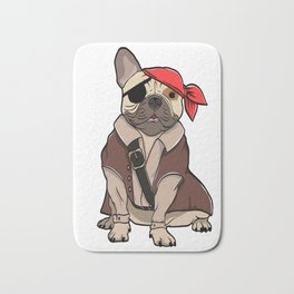"""Certified Dog Lover? Here's a cute t-shirt design with an illustration of """"FRENCH BULLDOG"""" T-shirt Bath Mat"""