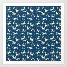 Unicorns and Rainbows - teal -tiny Art Print