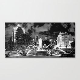 Kansas City J.C. Nichols Fountain Panoramic - Black and White Canvas Print