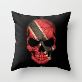 Dark Skull with Flag of Trinidad and Tobago Throw Pillow