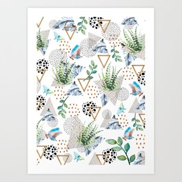 Geometric with cactus and butterflies Art Print
