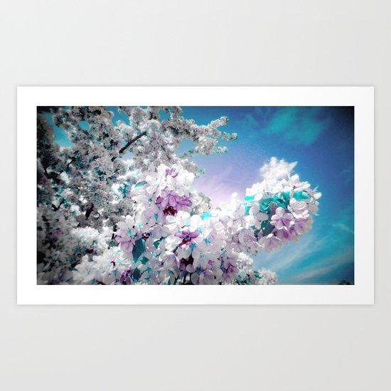 Flowers Lavender Turquoise Aqua Blue Art Print