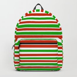 Red, Green and White Horizontal Stripes Backpack