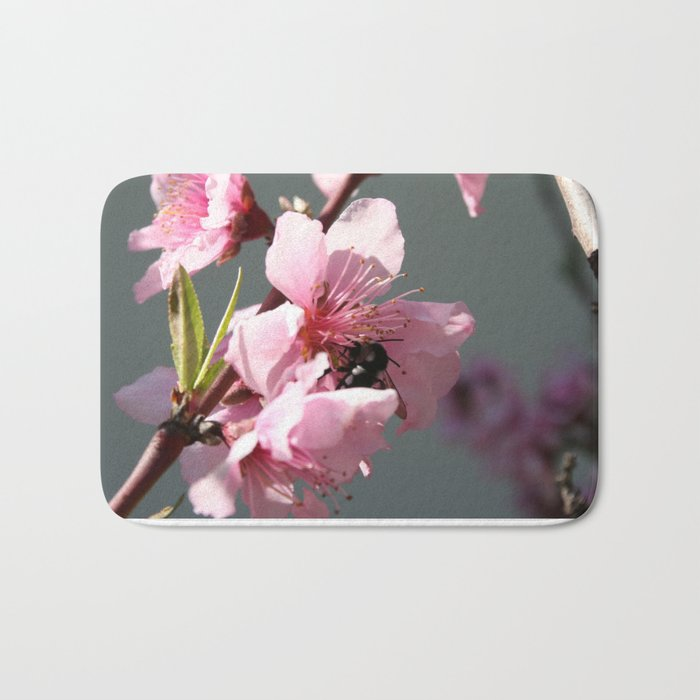 Unidentified Winged Insect On Peach Tree Blossom Bath Mat